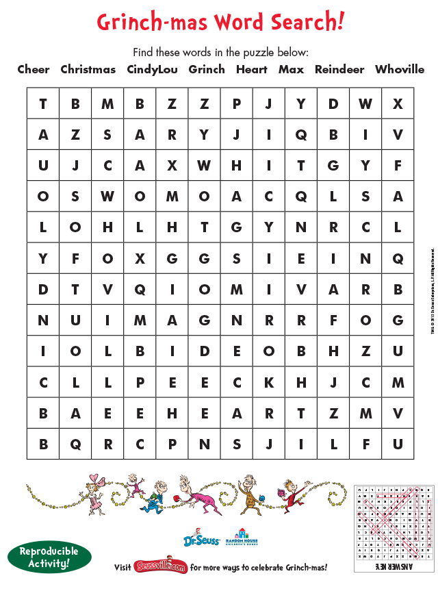 photo relating to Dr Seuss Word Search Printable identified as Grinch-mas Pursuits